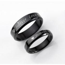 Black Engraved Titanium Steel Couple Rings