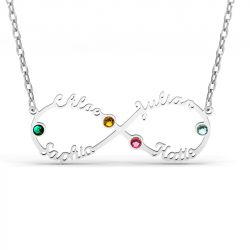 Infinity Sterling Silver Name Necklace With Stones