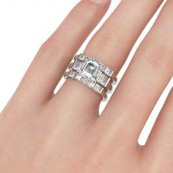 Modern Asscher Cut Sterling Silver 3PC Ring Set
