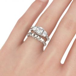 Three Stone Leaf Shape Round Cut Sterling Silver Ring Set