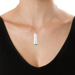 Engraved Vertical Bar Necklace With Stones Sterling Silver