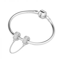 White Stones Safety Chain Sterling Silver