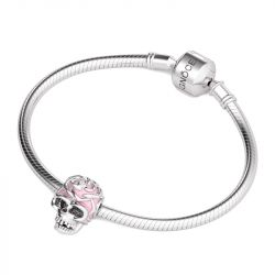 Pink Skull Charm Sterling Silver