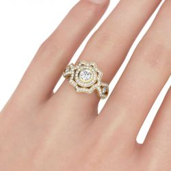 Gold Tone Halo Round Cut Sterling Silver Ring
