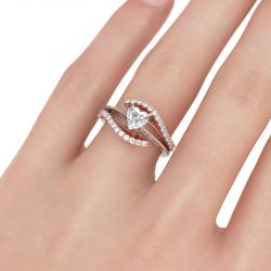 Bead Two Tone Heart Cut Sterling Silver Ring