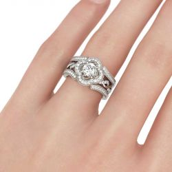 Twist Floral Halo Round Cut Interchangeable Sterling Silver Ring Set