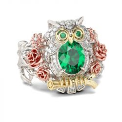 Three Tone Oval Cut Sterling Silver Owl Ring