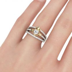 Two Tone Heart Cut Claddagh Sterling Silver Ring
