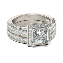 Jeulia  Halo Princess Cut Sterling Silver Ring Set