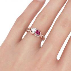 Two Tone Twist Heart Cut Sterling Silver Ring