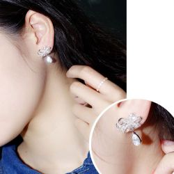 Flower Pear Cut Earring Drops