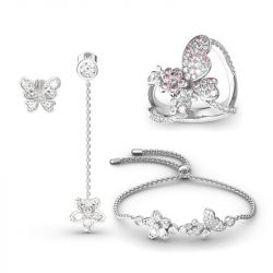 Flower and Butterfly Sterling Silver Jewelry Set