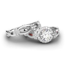 Cross Design Halo Round Cut Sterling Silver Ring Set