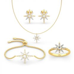 Two Tone Star Sterling Silver Jewelry Set