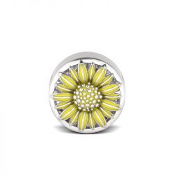Yellow Flower Charm Sterling Silver