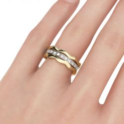 Wavy Round Cut Sterling Silver 3PC Wedding Band