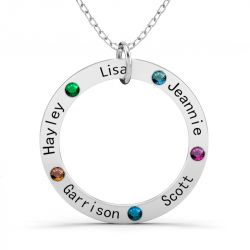 Circle Shape Family Necklace with Birthstones Sterling Silver