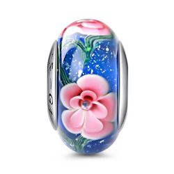 Flowers Bloom in Blue Glass Charm