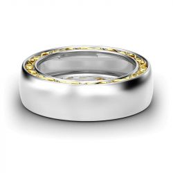 Two Tone Polished Sterling Silver Women's Band