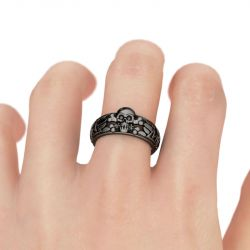 Black Tone Sterling Silver Skull Ring