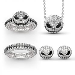 "Jeulia ""Pumpkin King"" ""Jack Skull"" Sterling Silver Jewelry Set"