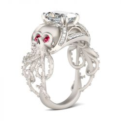 Octopus Radiant Cut Sterling Silver Skull Ring