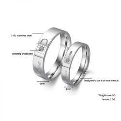Love Key And Lock Titanium Steel Couple Rings