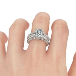 Interchangeable Radiant Cut Sterling Silver Ring Set