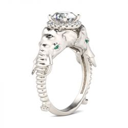 Halo Round Cut Sterling Silver Elephant Ring