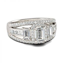 Three Stone Halo Emerald Cut Sterling Silver Ring