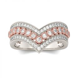 Two Tone Curve Round Cut Women's Band