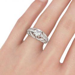 Milgrain Scrollwork Round Cut Sterling Silver Ring