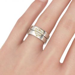 Two Tone Heart Design Round Cut Sterling Silver Band Set