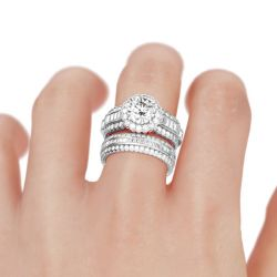 Floral Halo Round Cut Sterling Silver Ring Set