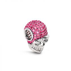 Skull Charm with Rose Stone Sterling Silver
