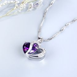 Heart Cut Sterling Silver Pendant Necklace