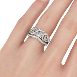 Interlocking Princess Cut Sterling Silver Ring Set