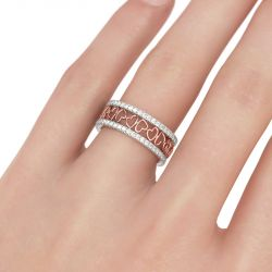 Two Tone Heart Sterling Silver Women's Band