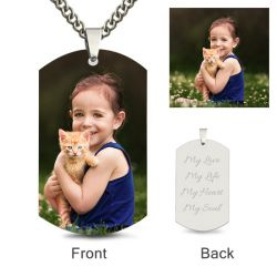 Dog Tag Personalized Color Photo Necklace Sterling Silver