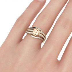 Two Tone Split Shank Round Cut Sterling Silver Ring