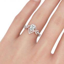 Fancy Two Tone Pear Cut Sterling Silver Ring