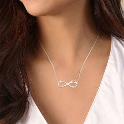 Heart Shape Three Name Infinity Necklace Sterling Silver