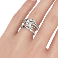 Crescent Round Cut Sterling Silver Ring Set