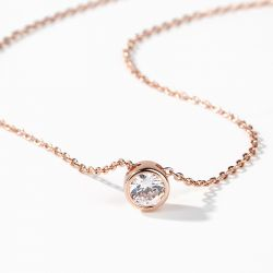 Simple Round Cut Stone Pendant Sterling Silver Necklace