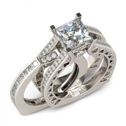 Jeulia Art Deco Interchangeable Princess Cut Sterling Silver Ring Set