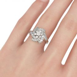 Floral Design Round Cut Sterling Silver Ring