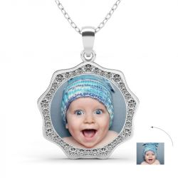 Sunflower Personalized Photo Necklace Sterling Silver