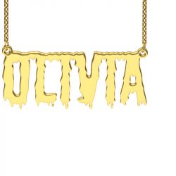 Gold Tone Shlop Style Name Necklace