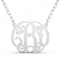 Vintage Monogram Necklace Sterling Silver