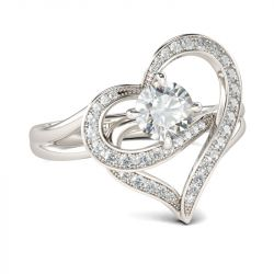 Jeulia  Heart Design Round Cut Sterling Silver Ring